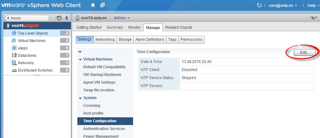 Как настроить время и NTP клиента в ESXI 5.5-06