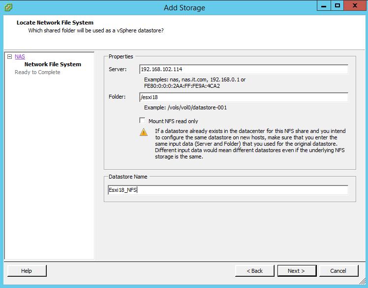 Как подключить NFS диск с Open-e 7 в VMware ESXI 5.5-13