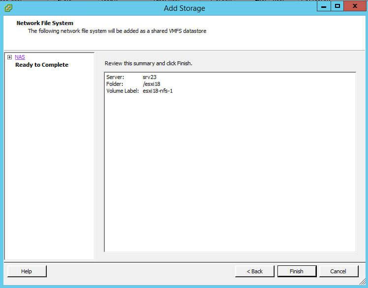 Как подключить NFS диск с Windows Server 2012 R2 в VMware ESXI 5.5-36