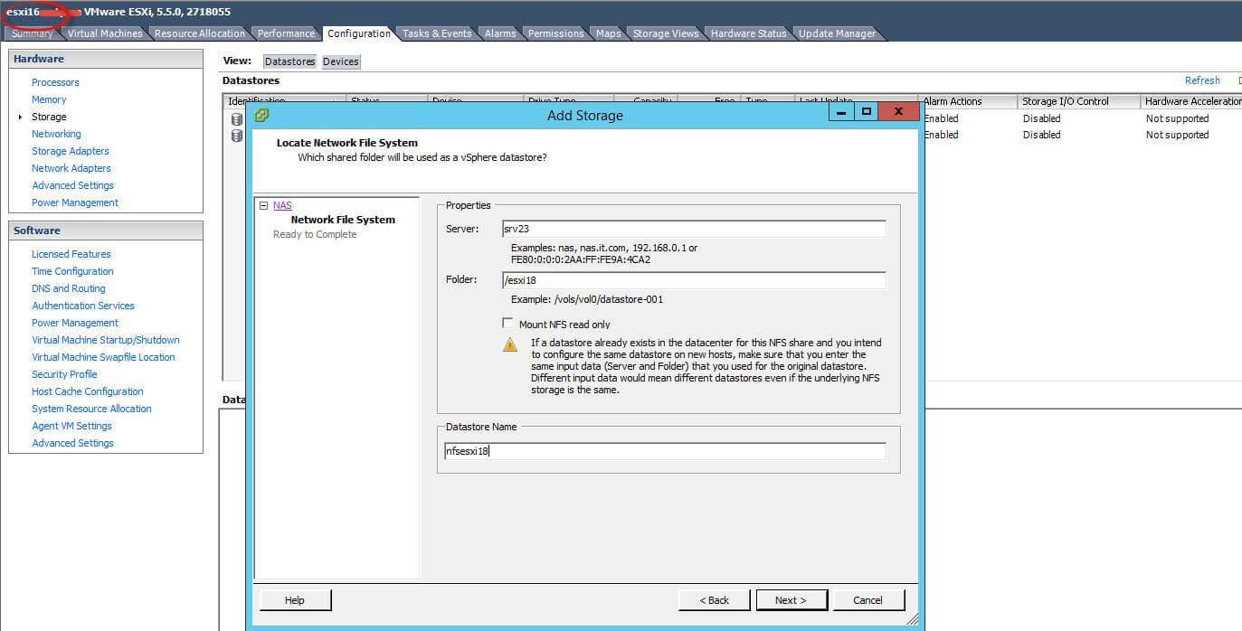 Как подключить NFS диск с Windows Server 2012 R2 в VMware ESXI 5.5-41