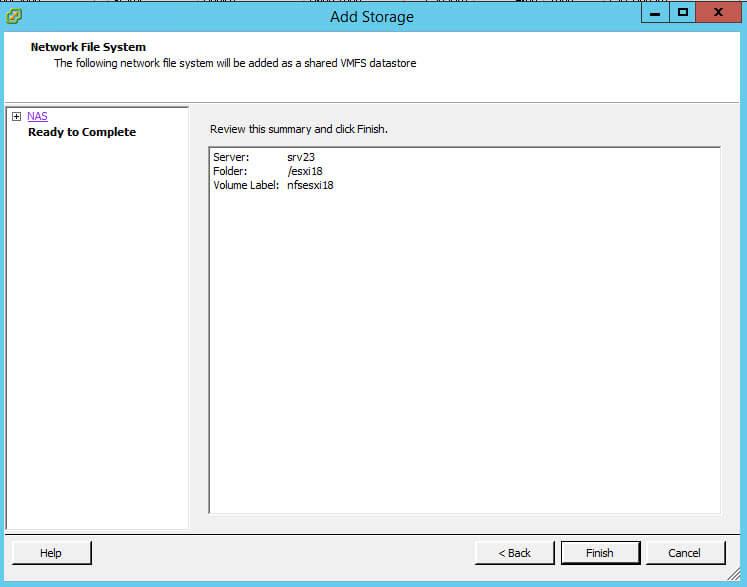 Как подключить NFS диск с Windows Server 2012 R2 в VMware ESXI 5.5-42
