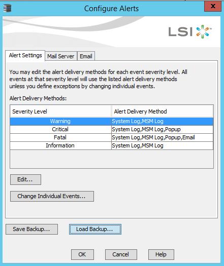 Как сохранить и восстановить настройки email оповещение в LSI MegaRAID-02