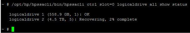 Как узнать прогресс rebuilding RAID на контроллере Smart Array P410i-06