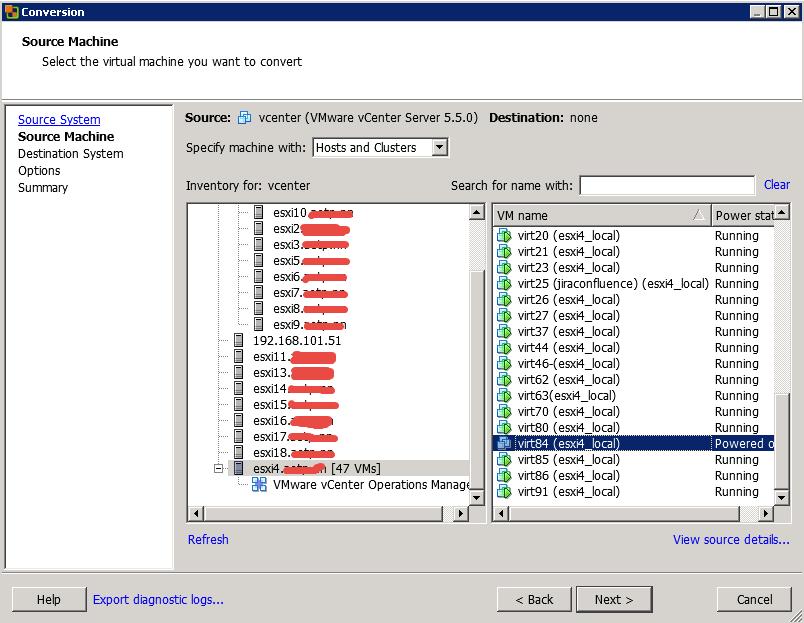 Как мигрировать виртуальную машину на VMware Vcenter 5.5 с сжатием диска и сменой толстого на тонкий формат-06
