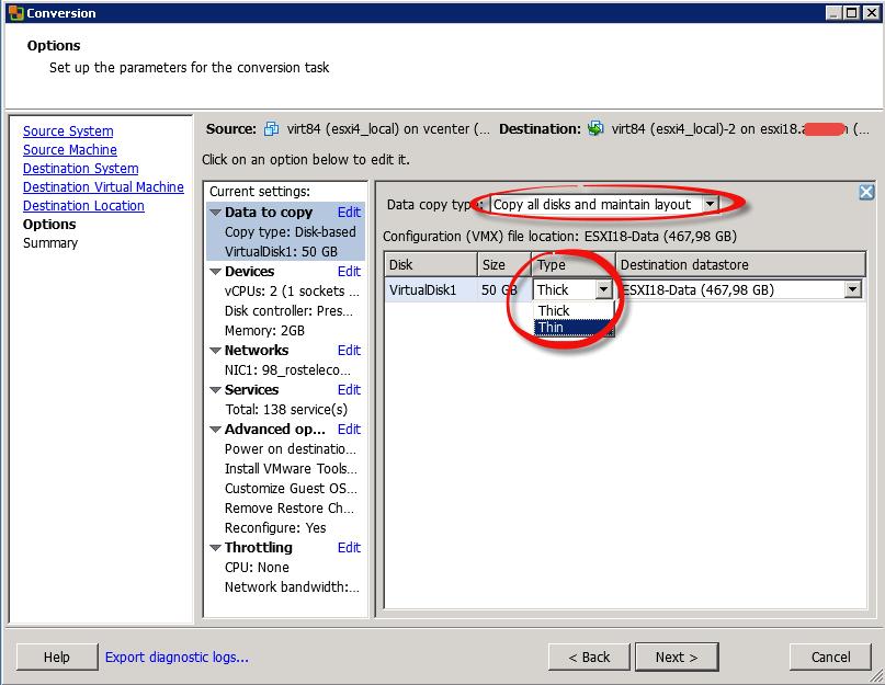 Как мигрировать виртуальную машину на VMware Vcenter 5.5 с сжатием диска и сменой толстого на тонкий формат-10