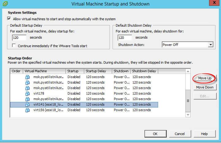 Как настроить автозапуск виртуальной машины в Vcenter 5.5 или ESXi 5.5-04