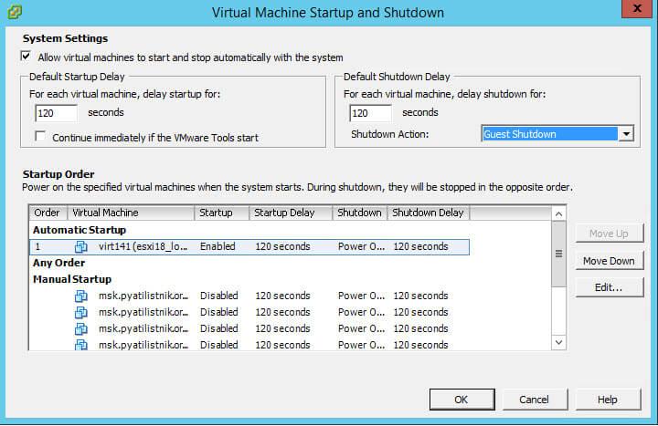 Как настроить автозапуск виртуальной машины в Vcenter 5.5 или ESXi 5.5-05