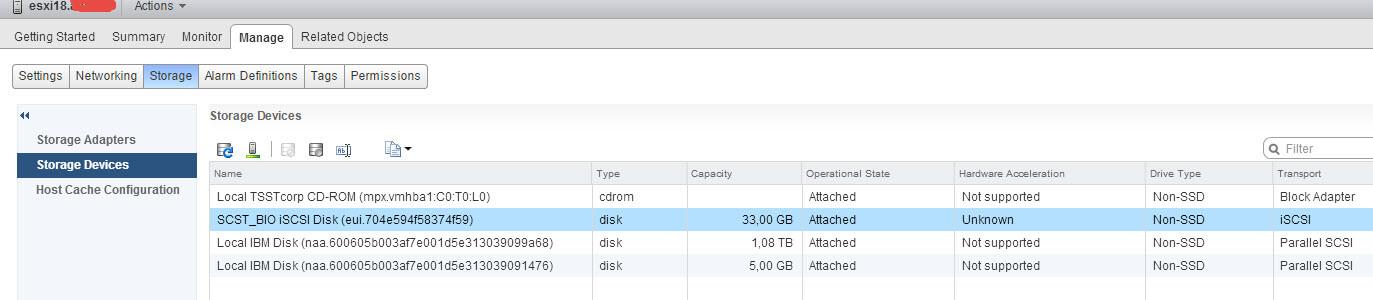 Как подключить ISCSI диск с Open-e 7 в VMware ESXI 5.5 через web client-01