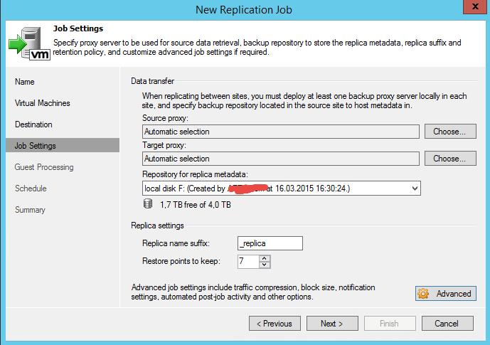 Как реплицировать виртуальную машину в Veeam Backup & Replication 7-09