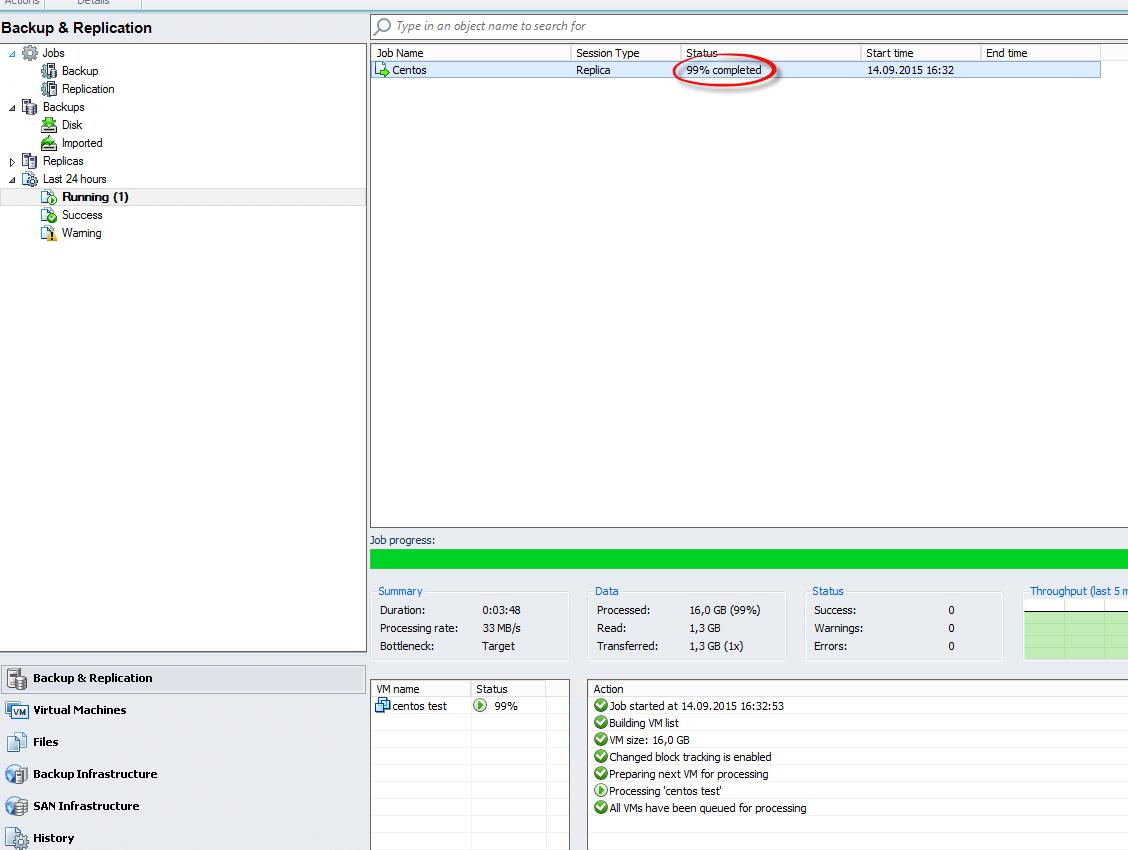 Как реплицировать виртуальную машину в Veeam Backup & Replication 7-15