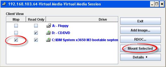 Как смонтировать iso в Virtual Media CDROM на сервере IBM System x3650 M3-10
