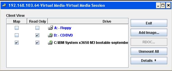 Как смонтировать iso в Virtual Media CDROM на сервере IBM System x3650 M3-11
