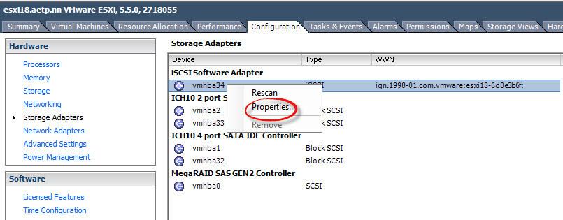 Как создать и подключить ISCSI диск с Open-e 7 в VMware ESXI 5.5-12