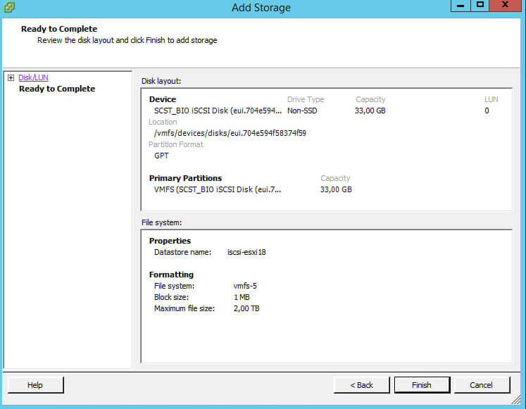 Как создать и подключить ISCSI диск с Open-e 7 в VMware ESXI 5.5-22