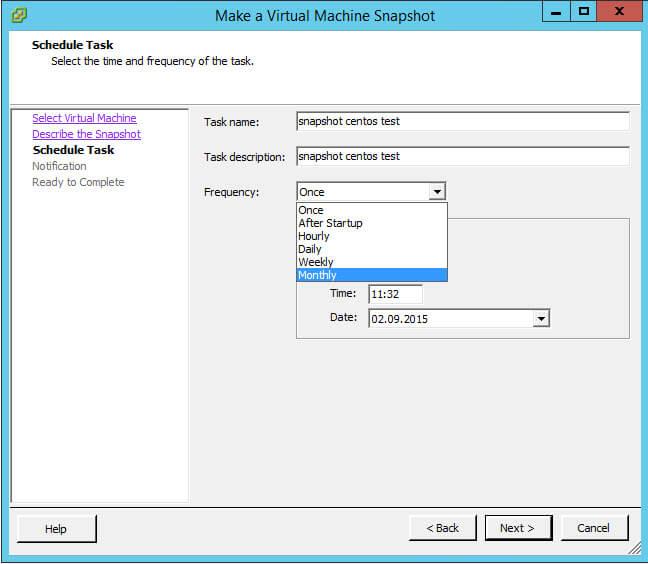 Как создать snapshot виртуальной машины по расписанию в VMware vCenter 5.5-06