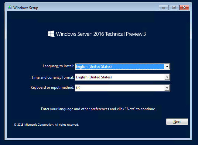 Как установить Windows Server 2016 Technical Preview 3-02