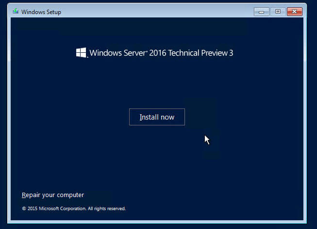 Как установить Windows Server 2016 Technical Preview 3-03