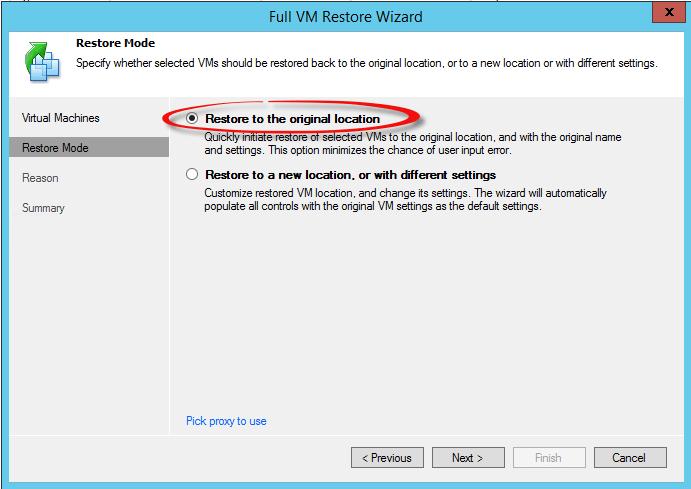 Как восстановить виртуальную машину в Veeam Backup & Replication 7-06