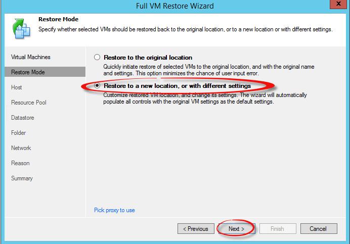 Как восстановить виртуальную машину в Veeam Backup & Replication 7-07