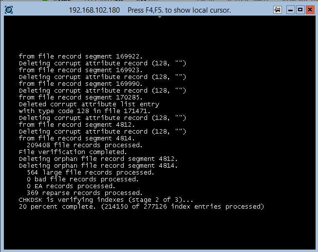 Код события 55, Структура файловой системы на диске повреждена и непригодна к использованию. Запустите программу CHKDSK на томе-03