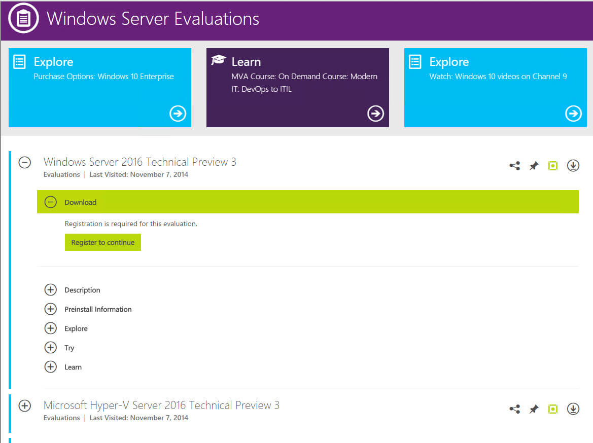 Скачать Windows Server 2016 Technical Preview 3-2