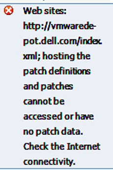 Ошибка hosting the patch definitions and patches cannot be accessed or have no patch data. Check the Internet connectivity в ESXI 5.5-01