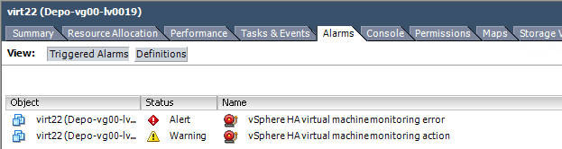 Ошибка vsphere ha virtual machine monitoring error