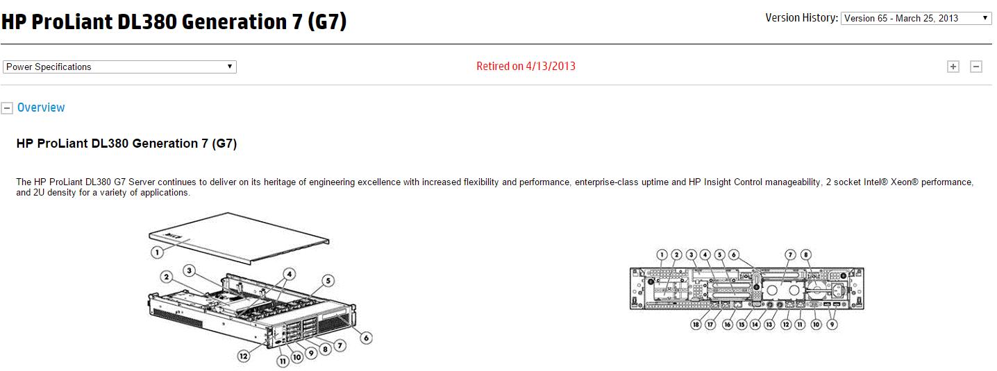 площадь поперечного сечения HP