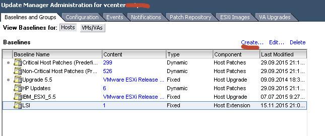 создание baseline vmware esxi 5.5
