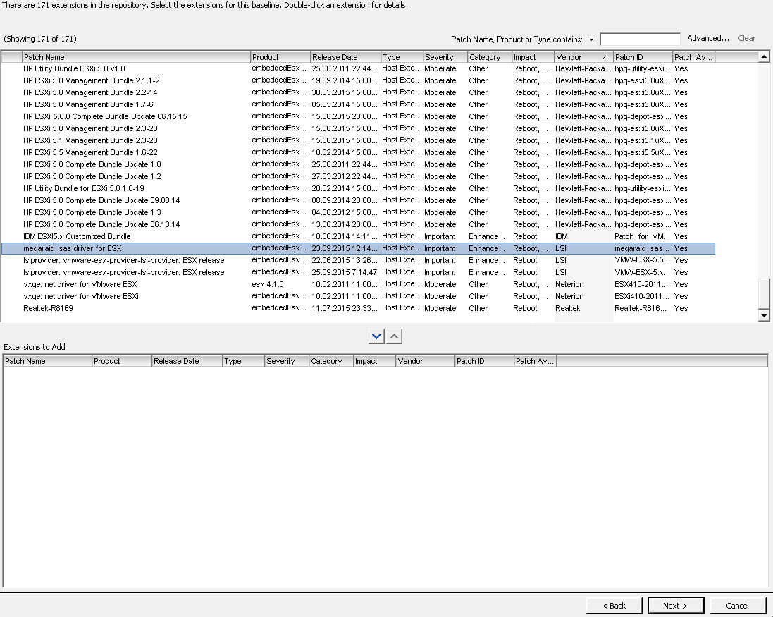 выбор пакетов название baselinevmware vcenter