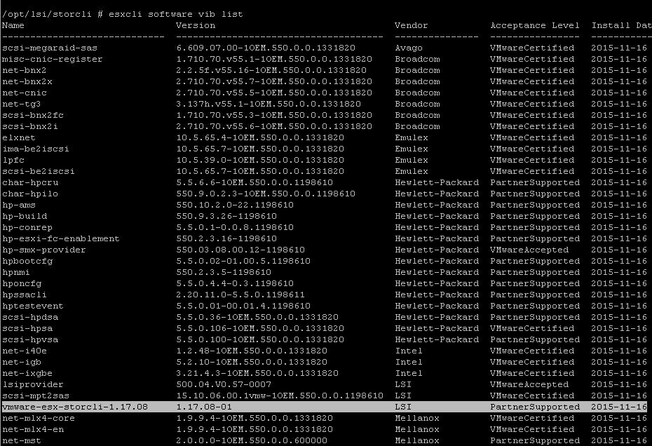 Как установить StorCLI в Vmware ESXI 5.5-02