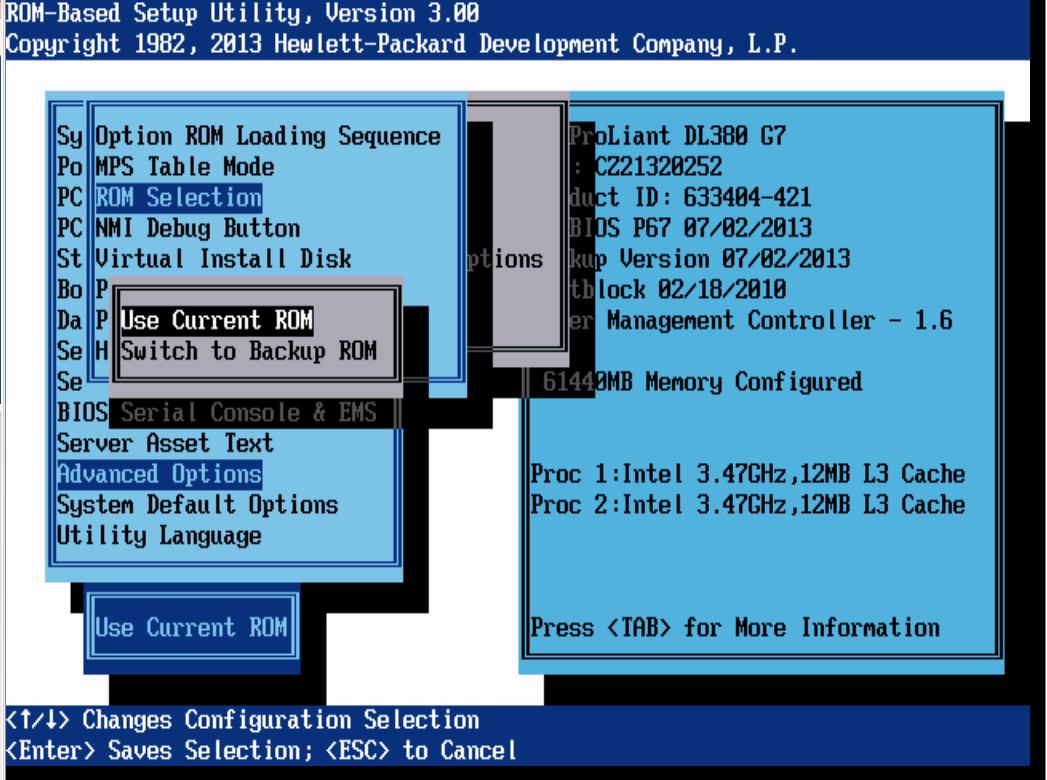 Как восстановить резервную копию BIOS на сервере HP ProLiant DL380 G7-01