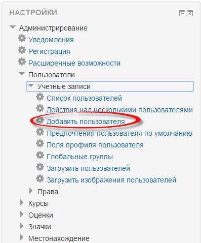 Moodle добавить пользователя