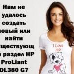 Нам не удалось создать новый или найти существующий раздел HP ProLiant DL380 G7