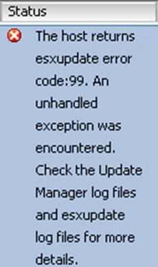 Ошибка The host returns esxupdate error code 99 при обновлении VMware ESXI 5.5-00