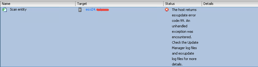 Ошибка The host returns esxupdate error code 99 при обновлении VMware ESXI 5.5-01