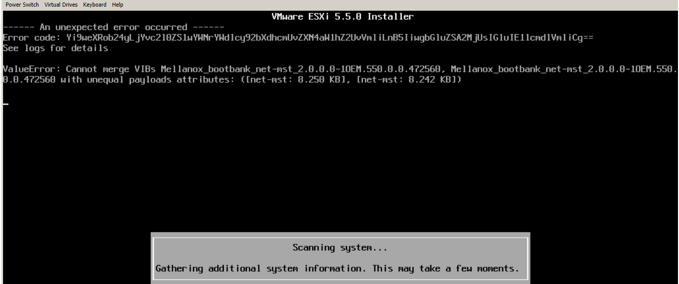 Ошибка ValueError Cannot merge VIBs Mellanox_bootbank_net-mst на VMware ESXI 5.5-2