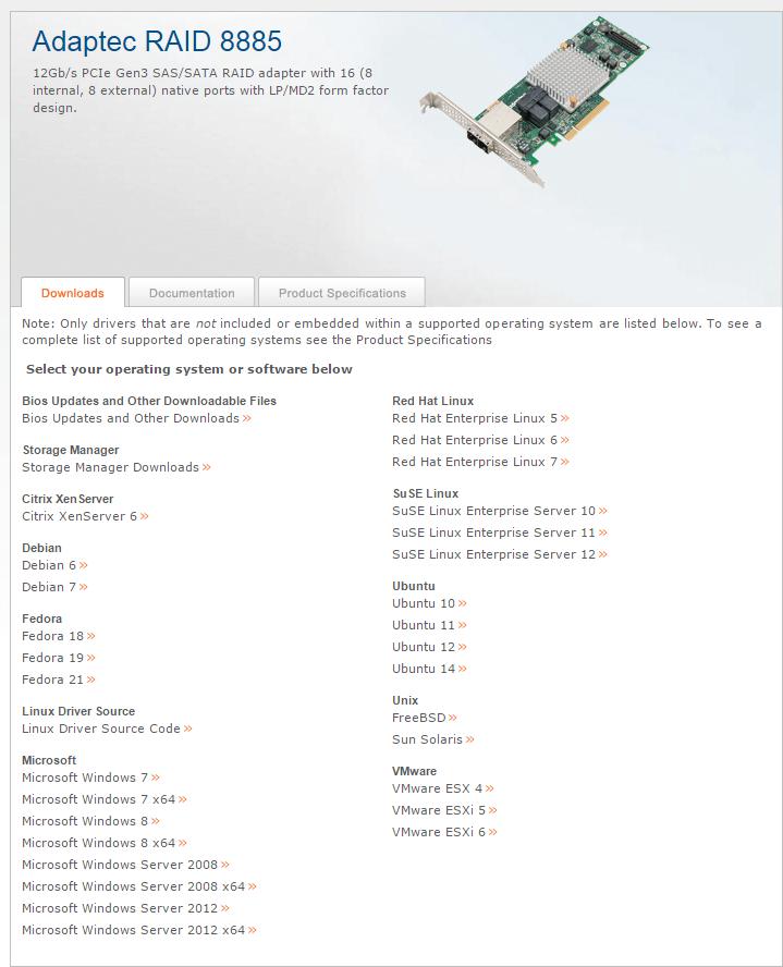 Где скачать драйвера Adaptec-1