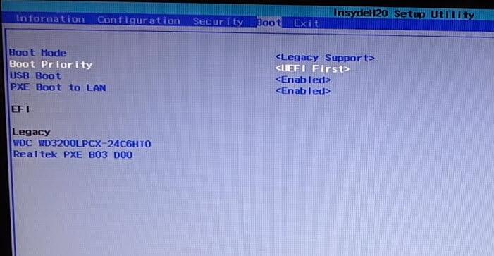 boot bios на ноутбук Lenovo G50-30-05