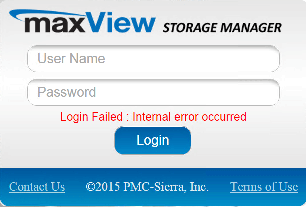 Login failed Internal error occurred