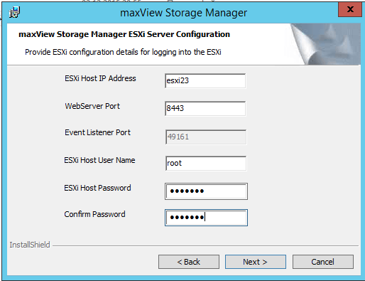 параметры maxView Storage Manager
