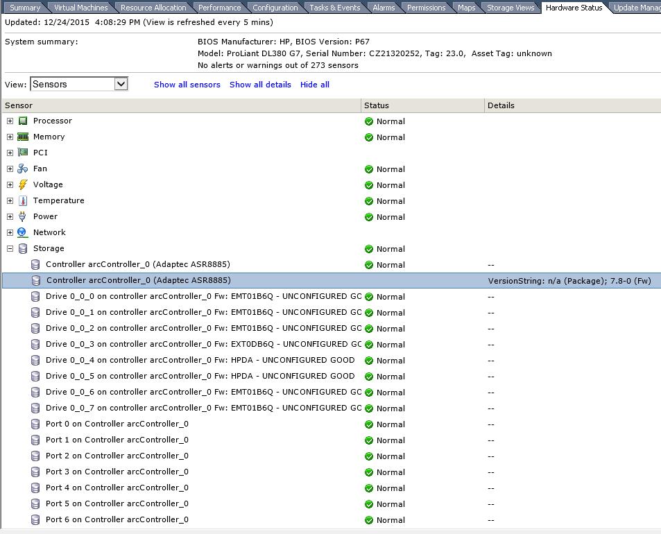 Мониторинг raid adaptec 8885