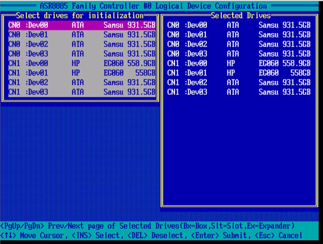 инициализация дисков adaptec raid 8885
