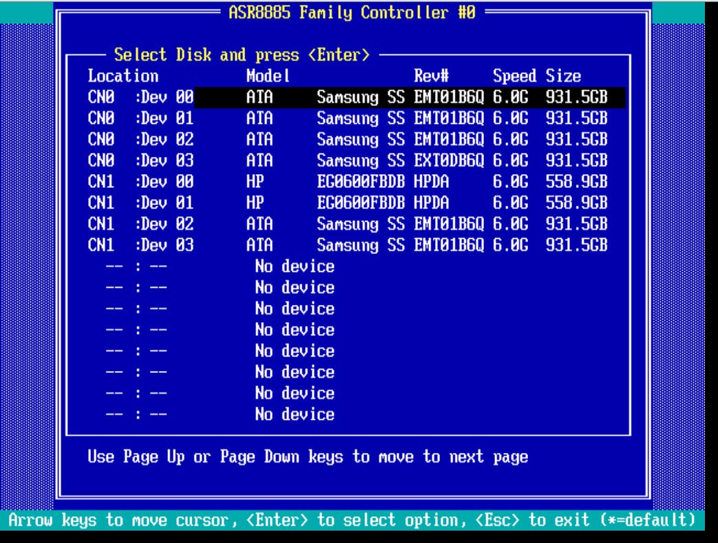 adaptec 8885 скисок дисков
