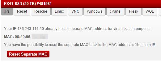 выделеный mac адрес