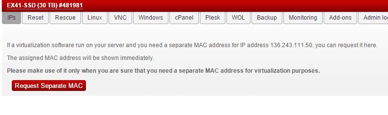 запрос mac адреса hetzner