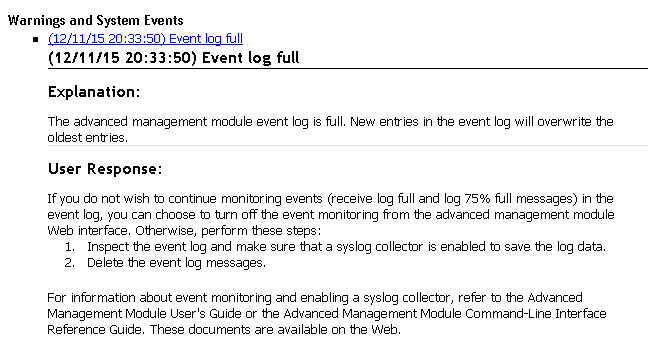 Event log full IBM BladeCenter-01