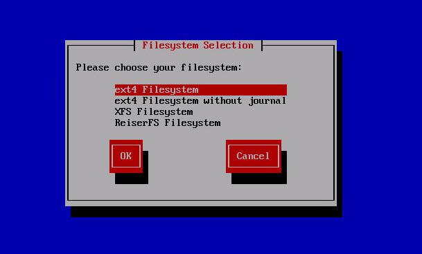 выбор файловой системы ipfire