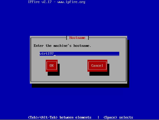 задаем имя сервера ipfire