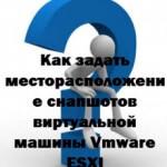 Как задать месторасположение снапшотов виртуальной машины Vmware ESXI